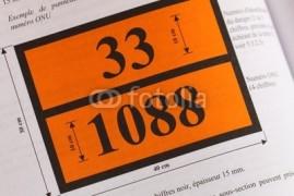 panneau orange avec code danger et n° ONU